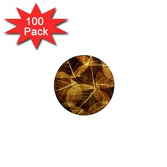 Leaves Autumn Texture Brown 1  Mini Magnets (100 Pack)  by Simbadda