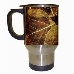 Leaves Autumn Texture Brown Travel Mugs (white) by Simbadda