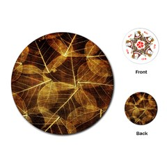 Leaves Autumn Texture Brown Playing Cards (round)  by Simbadda