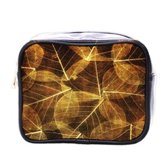 Leaves Autumn Texture Brown Mini Toiletries Bags by Simbadda