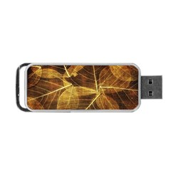 Leaves Autumn Texture Brown Portable Usb Flash (two Sides) by Simbadda