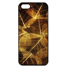 Leaves Autumn Texture Brown Apple Iphone 5 Seamless Case (black)
