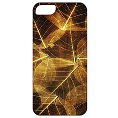 Leaves Autumn Texture Brown Apple Iphone 5 Classic Hardshell Case by Simbadda