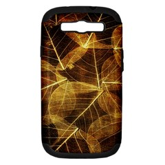 Leaves Autumn Texture Brown Samsung Galaxy S Iii Hardshell Case (pc+silicone) by Simbadda