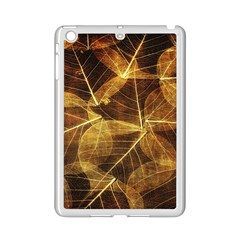 Leaves Autumn Texture Brown Ipad Mini 2 Enamel Coated Cases by Simbadda