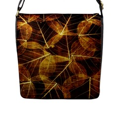 Leaves Autumn Texture Brown Flap Messenger Bag (l)