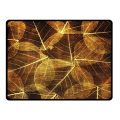 Leaves Autumn Texture Brown Double Sided Fleece Blanket (small)  by Simbadda