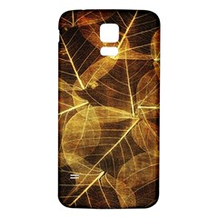 Leaves Autumn Texture Brown Samsung Galaxy S5 Back Case (white) by Simbadda