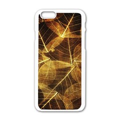 Leaves Autumn Texture Brown Apple Iphone 6/6s White Enamel Case by Simbadda