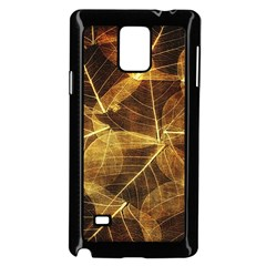 Leaves Autumn Texture Brown Samsung Galaxy Note 4 Case (black) by Simbadda