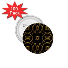 Black And Gold Pattern Elegant Geometric Design 1 75  Buttons (100 Pack)  by yoursparklingshop