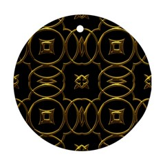 Black And Gold Pattern Elegant Geometric Design Round Ornament (two Sides)