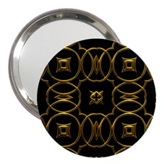 Black And Gold Pattern Elegant Geometric Design 3  Handbag Mirrors by yoursparklingshop