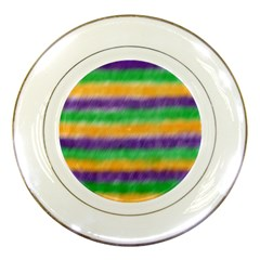 Mardi Gras Strip Tie Die Porcelain Plates by PhotoNOLA