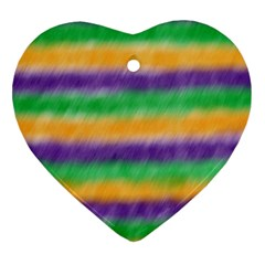 Mardi Gras Strip Tie Die Heart Ornament (two Sides) by PhotoNOLA