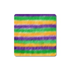 Mardi Gras Strip Tie Die Square Magnet by PhotoNOLA