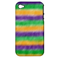 Mardi Gras Strip Tie Die Apple Iphone 4/4s Hardshell Case (pc+silicone) by PhotoNOLA
