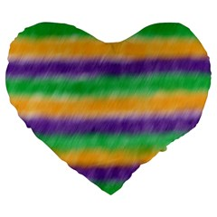 Mardi Gras Strip Tie Die Large 19  Premium Heart Shape Cushions by PhotoNOLA