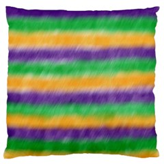 Mardi Gras Strip Tie Die Large Flano Cushion Case (one Side) by PhotoNOLA