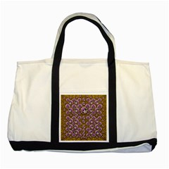 Gold Plates With Magic Flowers Raining Down Two Tone Tote Bag by pepitasart