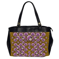 Gold Plates With Magic Flowers Raining Down Office Handbags (2 Sides)  by pepitasart