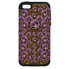 Gold Plates With Magic Flowers Raining Down Apple Iphone 5 Hardshell Case (pc+silicone) by pepitasart