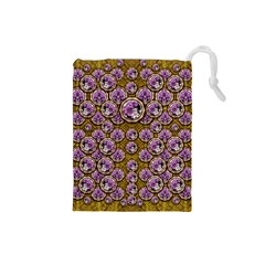 Gold Plates With Magic Flowers Raining Down Drawstring Pouches (small)  by pepitasart