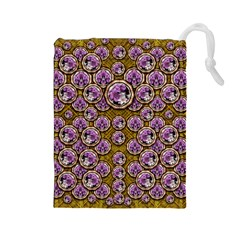 Gold Plates With Magic Flowers Raining Down Drawstring Pouches (large)  by pepitasart
