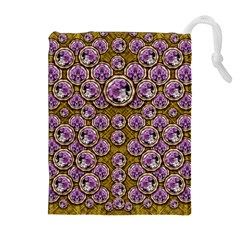 Gold Plates With Magic Flowers Raining Down Drawstring Pouches (extra Large) by pepitasart