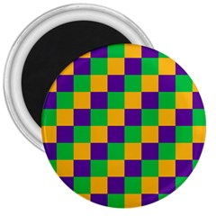 Mardi Gras Checkers 3  Magnets by PhotoNOLA