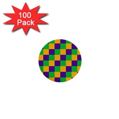Mardi Gras Checkers 1  Mini Buttons (100 Pack)  by PhotoNOLA