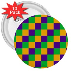 Mardi Gras Checkers 3  Buttons (10 Pack)  by PhotoNOLA