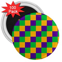 Mardi Gras Checkers 3  Magnets (100 Pack)