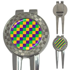 Mardi Gras Checkers 3 In 1 Golf Divots by PhotoNOLA