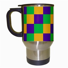 Mardi Gras Checkers Travel Mugs (white) by PhotoNOLA