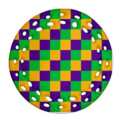 Mardi Gras Checkers Round Filigree Ornament (two Sides) by PhotoNOLA