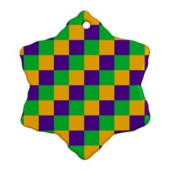 Mardi Gras Checkers Snowflake Ornament (two Sides) by PhotoNOLA