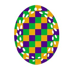 Mardi Gras Checkers Oval Filigree Ornament (two Sides) by PhotoNOLA
