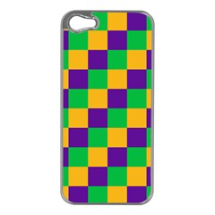 Mardi Gras Checkers Apple Iphone 5 Case (silver) by PhotoNOLA