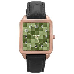 Mardi Gras Checker Boards Rose Gold Leather Watch  by PhotoNOLA