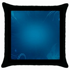 Blue Sea World Animals Fish Flower Floral Swim Waves Throw Pillow Case (black)