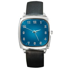 Blue Sea World Animals Fish Flower Floral Swim Waves Square Metal Watch by Alisyart