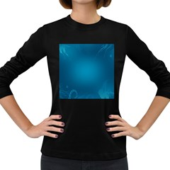 Blue Sea World Animals Fish Flower Floral Swim Waves Women s Long Sleeve Dark T Shirts