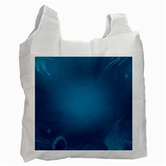 Blue Sea World Animals Fish Flower Floral Swim Waves Recycle Bag (two Side)  by Alisyart