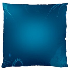 Blue Sea World Animals Fish Flower Floral Swim Waves Large Cushion Case (one Side) by Alisyart