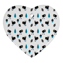 Bird Beans Leaf Black Blue Ornament (heart) by Alisyart