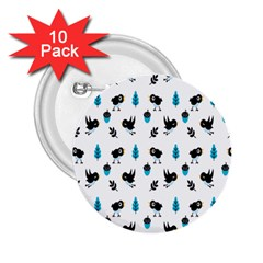 Bird Beans Leaf Black Blue 2 25  Buttons (10 Pack)  by Alisyart