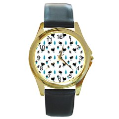 Bird Beans Leaf Black Blue Round Gold Metal Watch