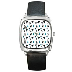 Bird Beans Leaf Black Blue Square Metal Watch by Alisyart