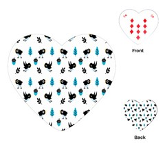 Bird Beans Leaf Black Blue Playing Cards (heart)